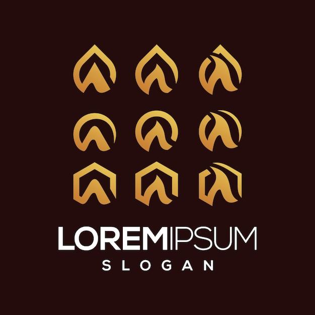 Buchstabe eine reihe von logo-farbverlauf-auflistung Premium Vektoren