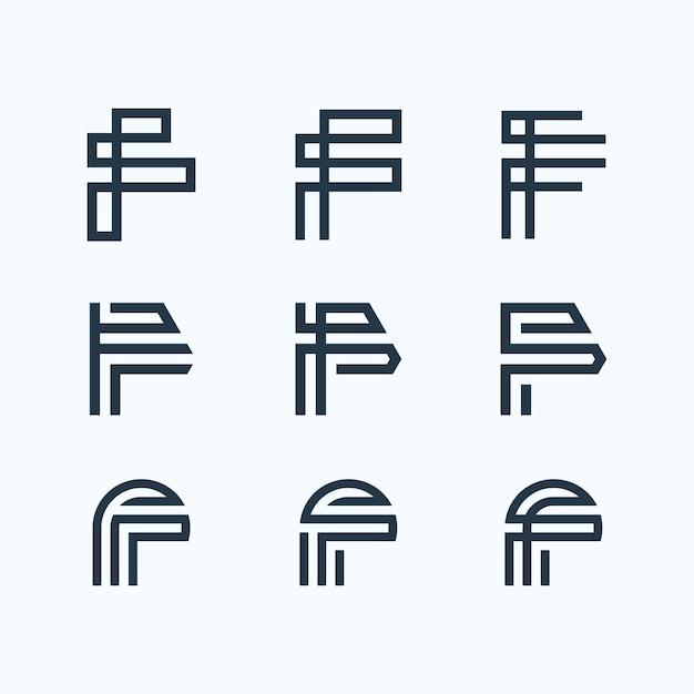 Buchstabe f logo-bündel Premium Vektoren