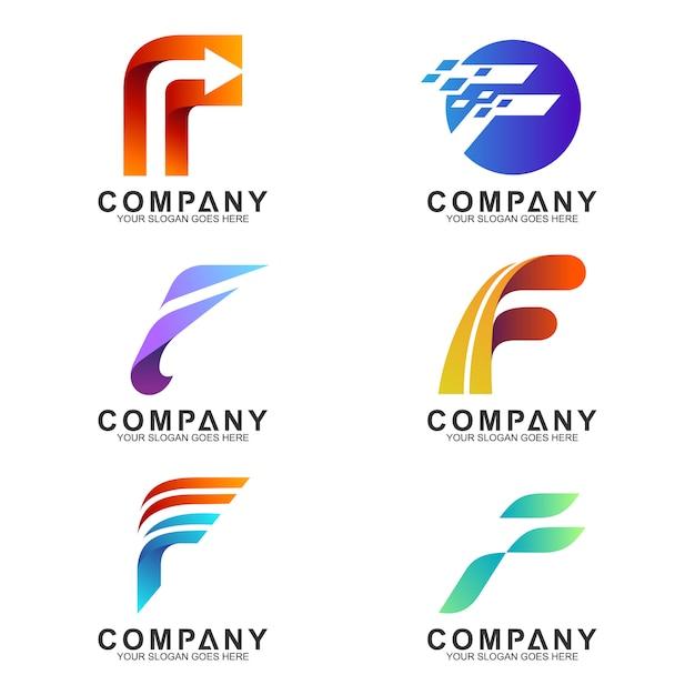 Buchstabe f logo-sammlung Premium Vektoren
