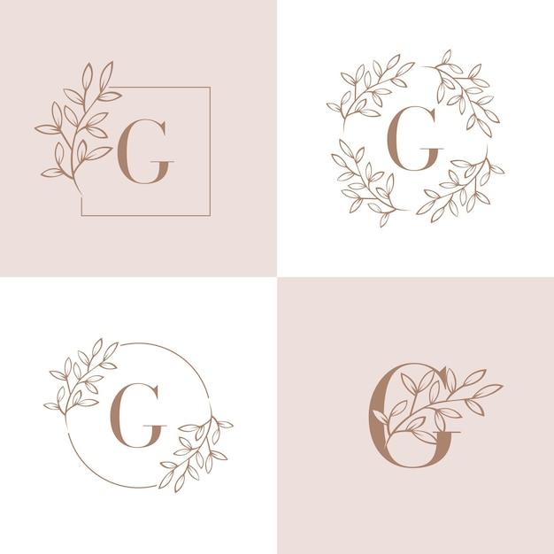 Buchstabe g-logo mit orchideenblattelement Premium Vektoren