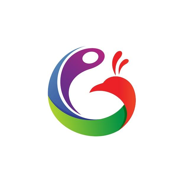 Buchstabe g-pfau logo vector Premium Vektoren