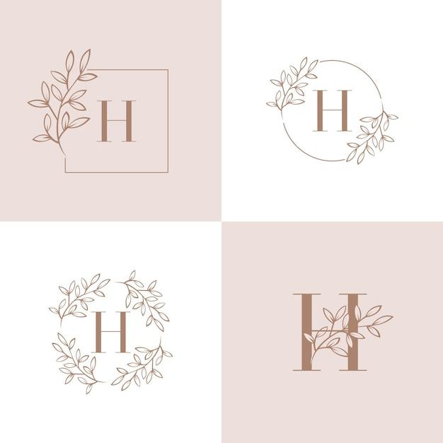 Buchstabe h logo design mit orchidee blatt element Premium Vektoren