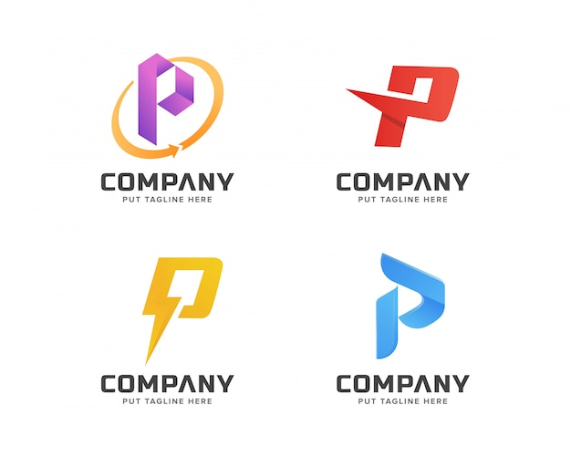 Buchstabe initial p logo-vorlagensammlung, abstraktes logo für wirtschaftsunternehmen Premium Vektoren
