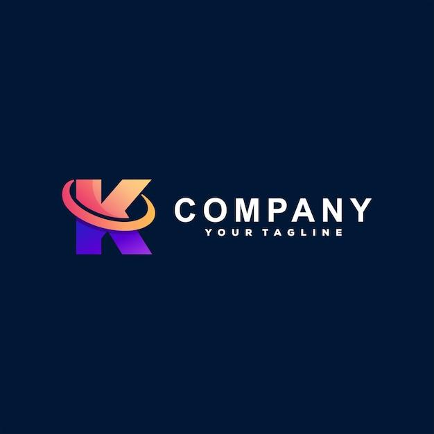 Buchstabe k farbverlauf logo design Premium Vektoren