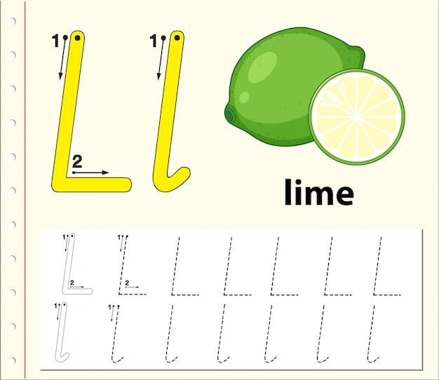 Buchstabe l alphabet arbeitsblätter verfolgen Premium Vektoren