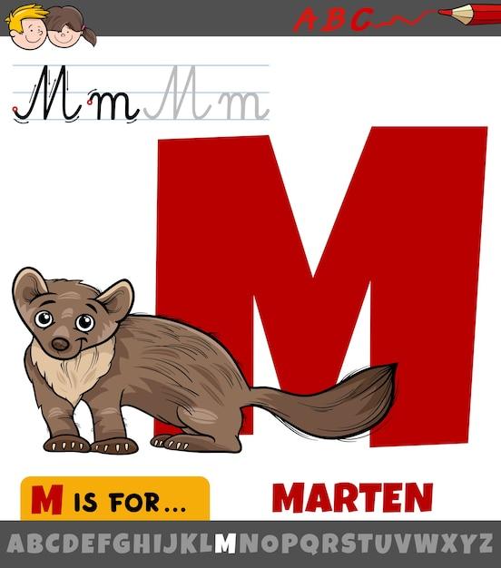 Buchstabe m aus dem alphabet mit cartoon marder tier Premium Vektoren
