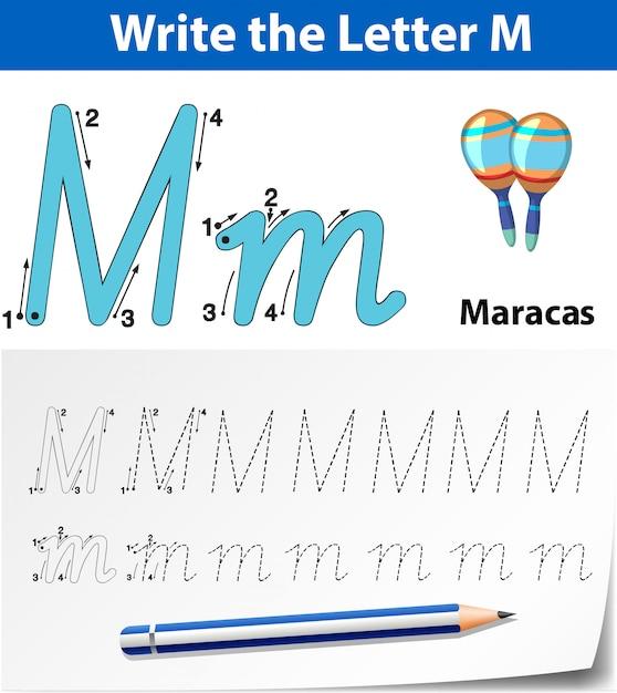 Buchstabe m, der alphabet-arbeitsblätter aufspürt Premium Vektoren