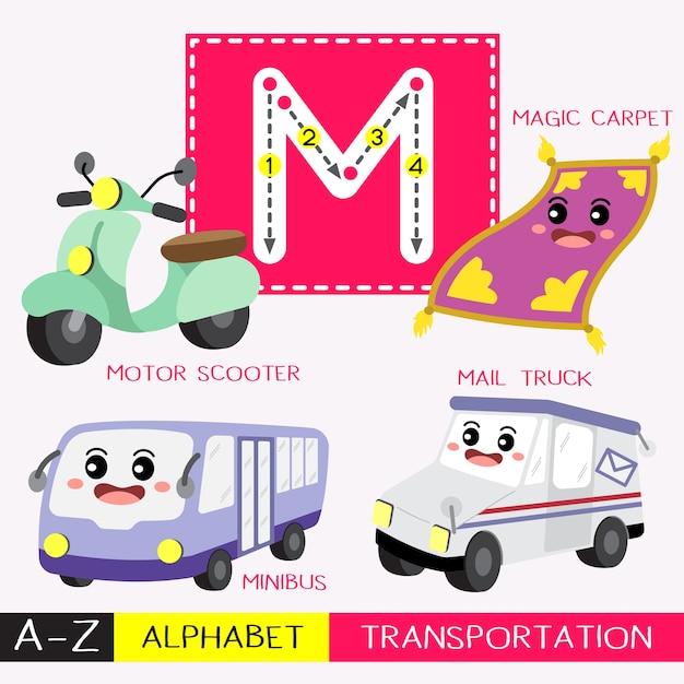 Buchstabe m großbuchstabe transportvokabular Premium Vektoren