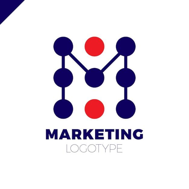 Buchstabe m logo design-vorlage. marketingrate dot firmenzeichen Premium Vektoren