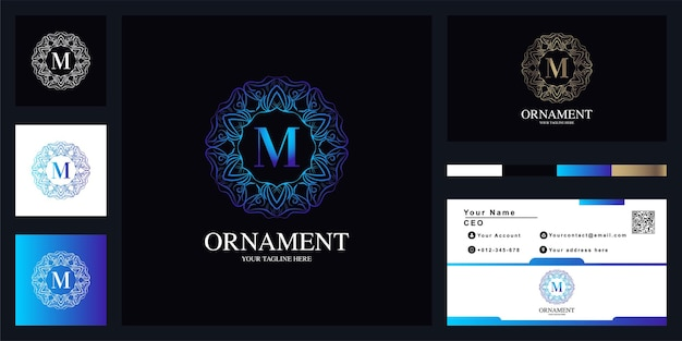 Buchstabe m luxus ornament blumenrahmen logo vorlage design mit visitenkarte.o vorlage design mit visitenkarte. Premium Vektoren