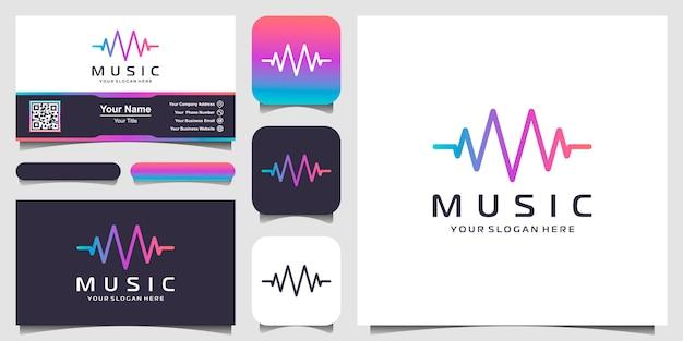 Buchstabe m mit puls. musik-player-element. logo-vorlage elektronische musik, equalizer, laden, dj-musik, nachtclub, disco. audio-wellen-logo-konzept, thematische multimedia-technologie, abstrakte form. Premium Vektoren