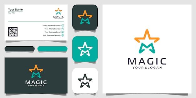 Buchstabe m mit sternlinienkunst-logo-design-inspiration. logo- und visitenkarten-design Premium Vektoren