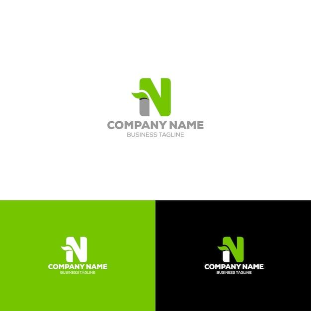Buchstabe n bio-logo-vorlage Premium Vektoren