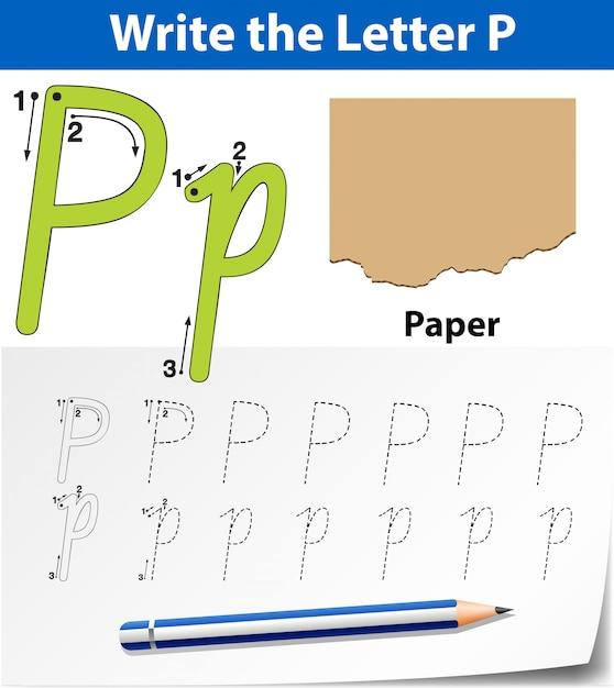 Buchstabe p, der alphabet-arbeitsblätter verfolgt Premium Vektoren