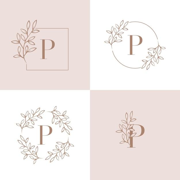 Buchstabe p-logo-design mit orchideenblattelement Premium Vektoren
