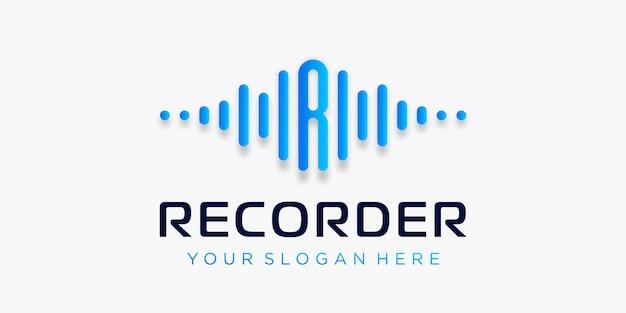 Buchstabe r mit pulslogo-design. rekorderelement. logo-vorlage elektronische musik, equalizer, laden, dj-musik, nachtclub, disco. audio-wellen-logo-konzept, thematische multimediatechnologie, abstrakte form. Premium Vektoren