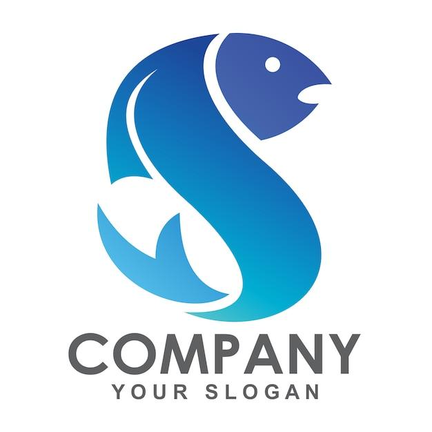 Buchstabe s fisch logo Premium Vektoren