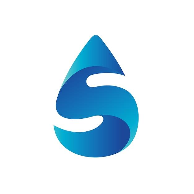 Buchstabe s in wassertropfen logo vorlage Premium Vektoren