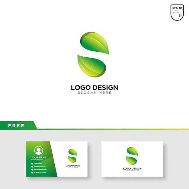 Buchstabe s leaf logo Premium Vektoren