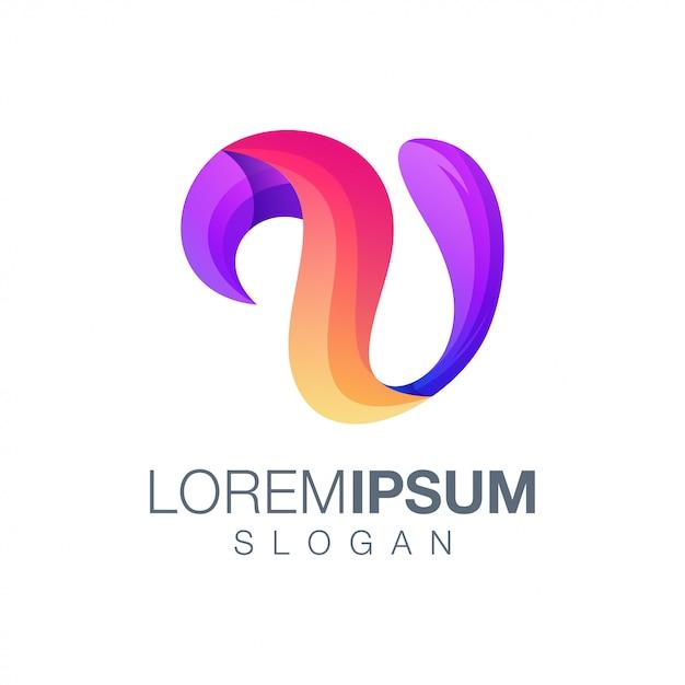 Buchstabe u farbverlauf logo-design Premium Vektoren