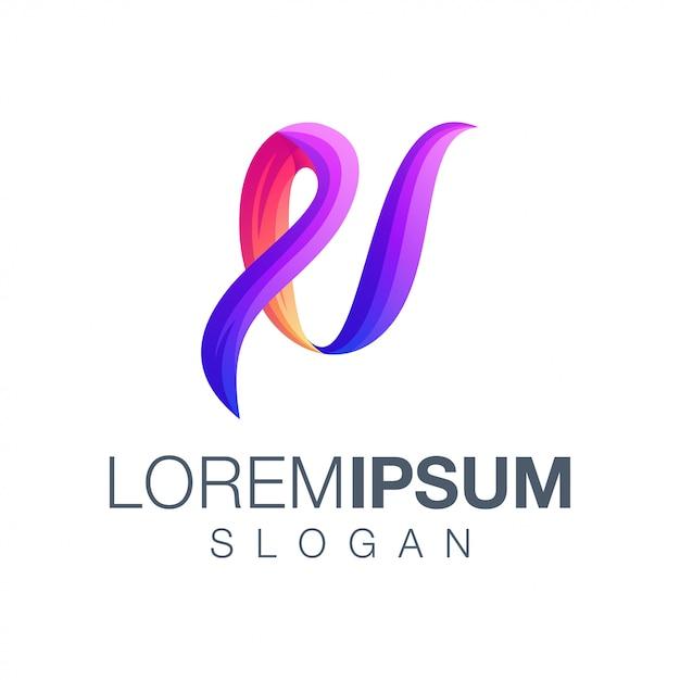 Buchstabe u farbverlauf logo Premium Vektoren