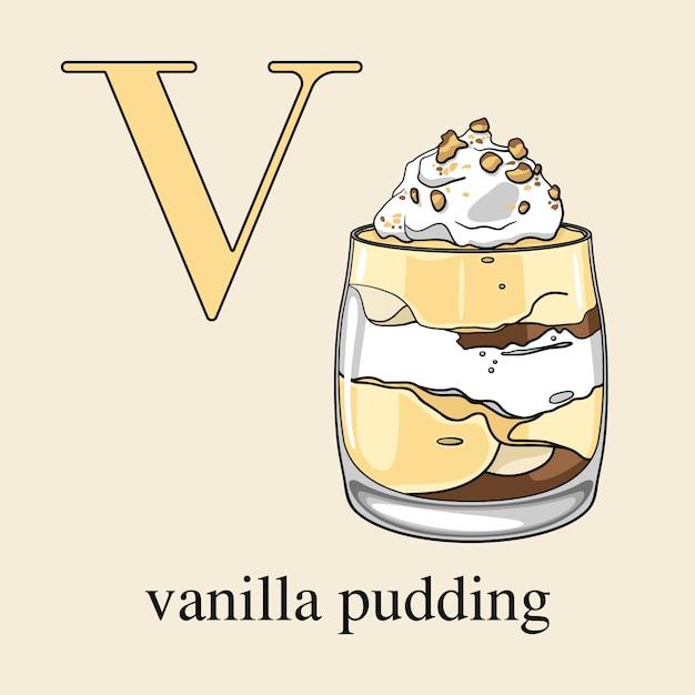 Buchstabe v mit vanillepudding Premium Vektoren