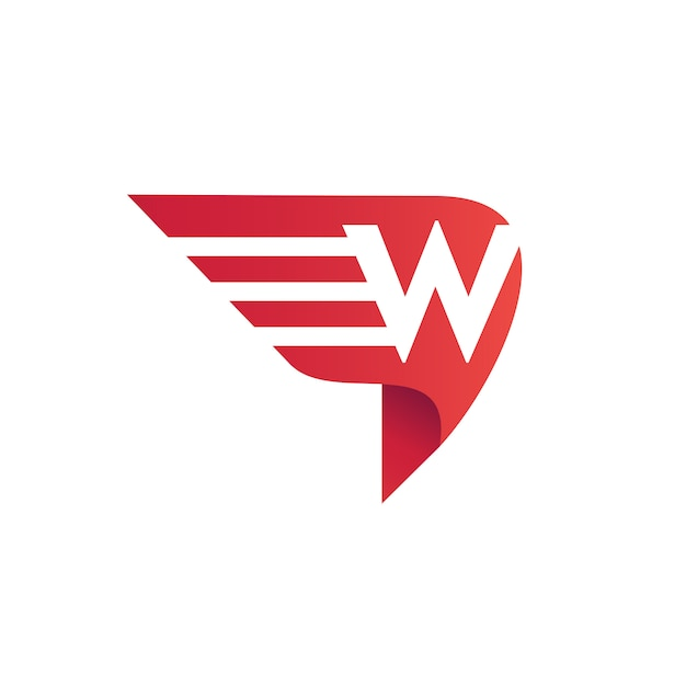 Buchstabe w flügel logo vektor Premium Vektoren
