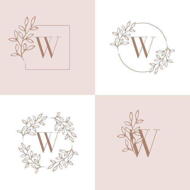 Buchstabe w logo design mit orchidee blatt element Premium Vektoren