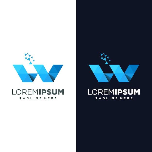 Buchstabe w logo gebrauchsfertig Premium Vektoren
