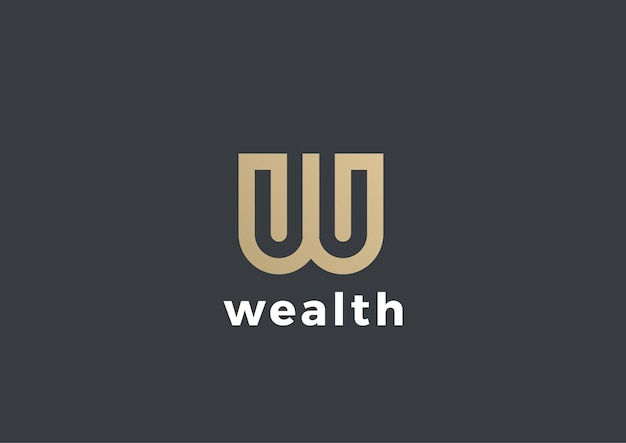 Buchstabe w logo isoliert auf grau Premium Vektoren