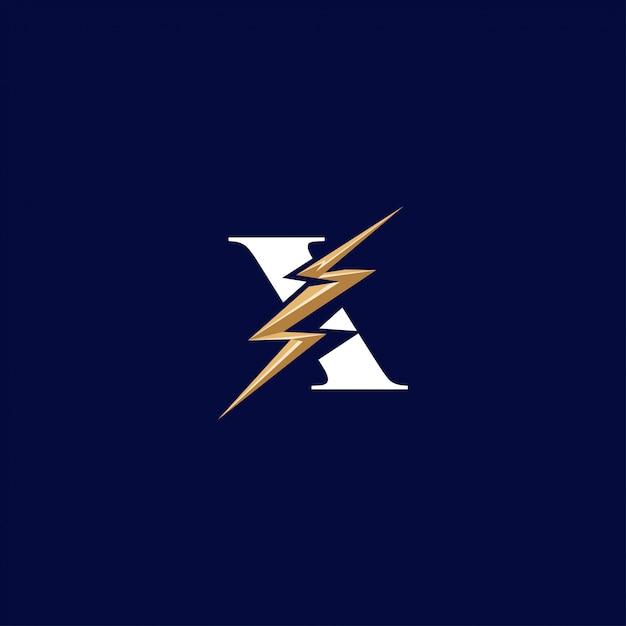 Buchstabe x mit flash-logo Premium Vektoren