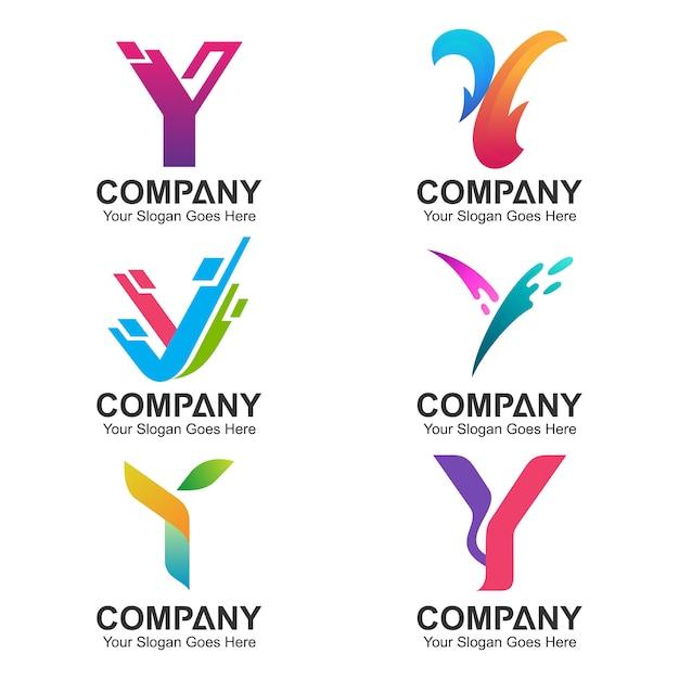 Buchstabe y logo design collection Premium Vektoren