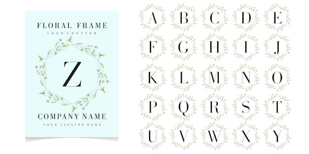 Buchstabe z-logo mit floralen rahmen Premium Vektoren