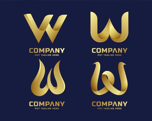 Buchstabeinitiale w-logosammlung des kreativen geschäfts goldene Premium Vektoren