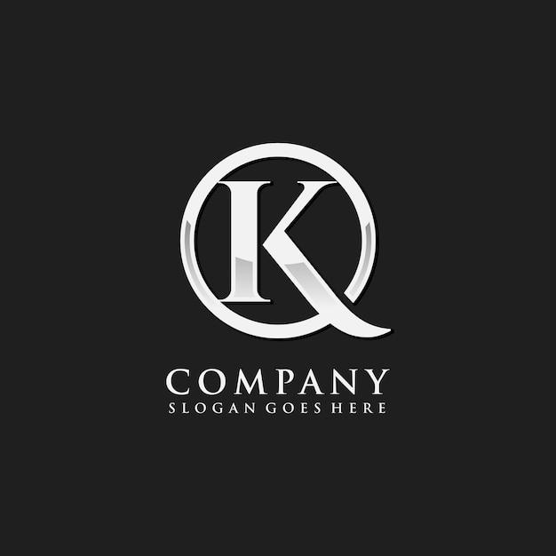 Buchstaben k chrom erste logo vorlage Premium Vektoren