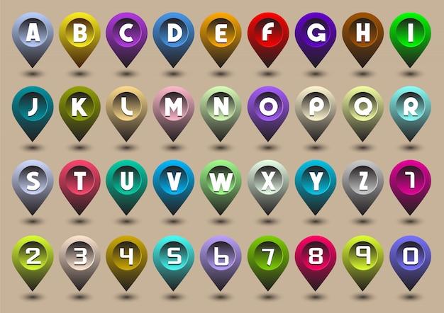 Buchstaben und zahlen in form von gps-symbolen Premium Vektoren