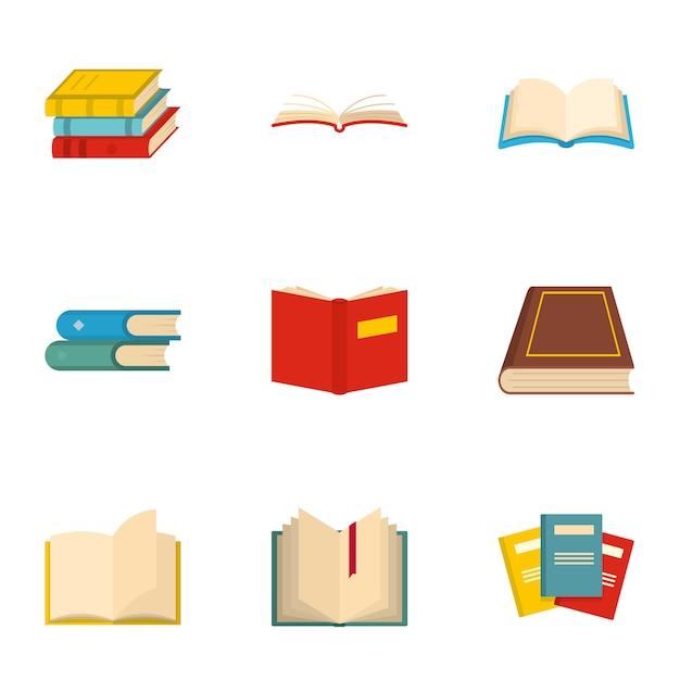 Buchsymbole festgelegt. karikatursatz von 9 buchikonen Premium Vektoren