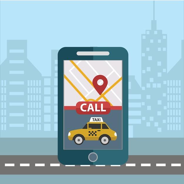 Buchung taxi online-konzept-design. großes smartphone und app für die bestellung von taxi taxi über mobile app und online bezahlen Premium Vektoren
