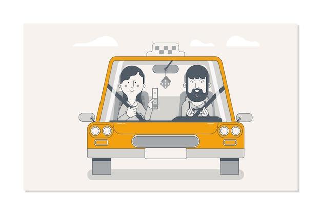Buchung taxi über mobile app Premium Vektoren