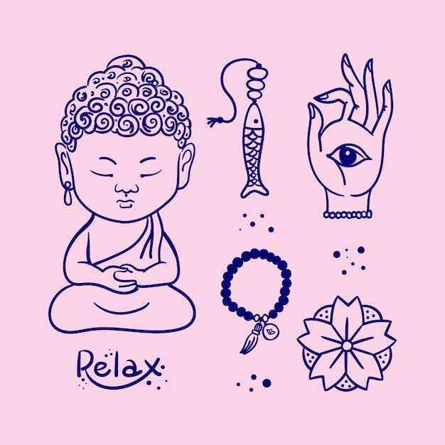 Buddha-figur Premium Vektoren