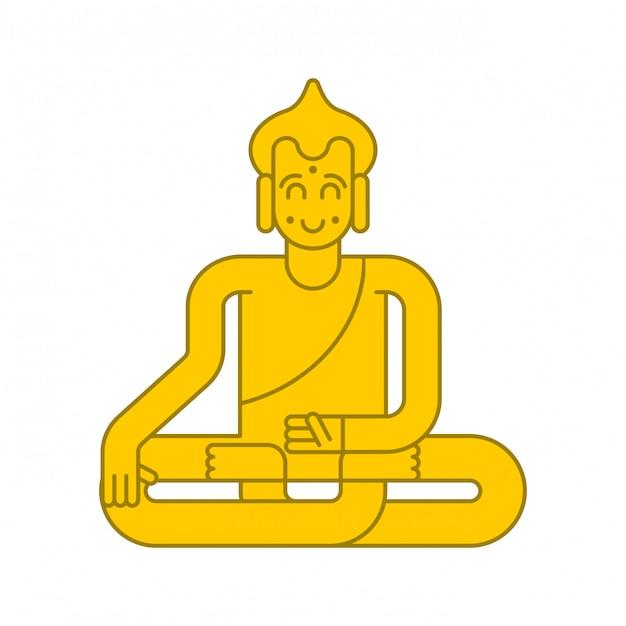 Buddha goldene statue meditation und erleuchtung. magische anziehungskraft Premium Vektoren