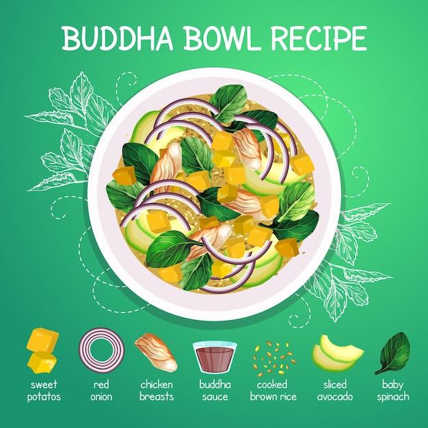Buddha schüssel rezept illustriert Kostenlosen Vektoren