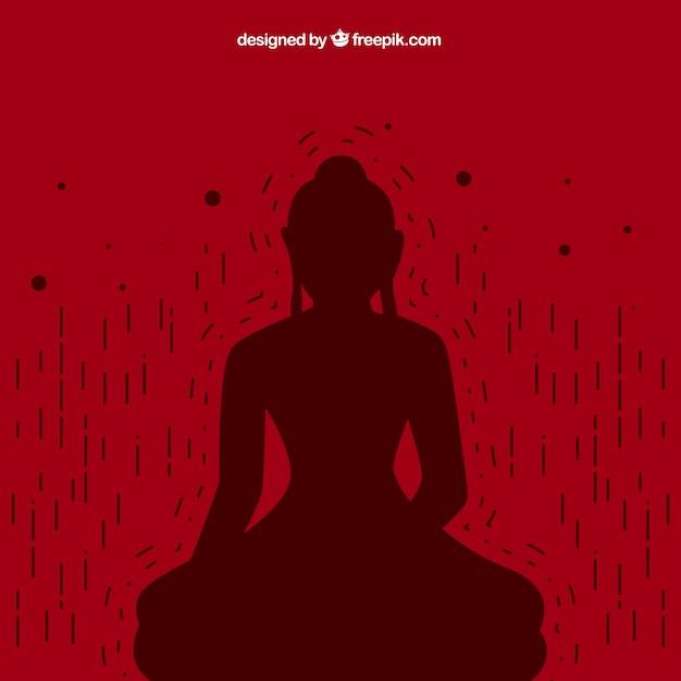 Buddha silhouette hintergrund Kostenlosen Vektoren