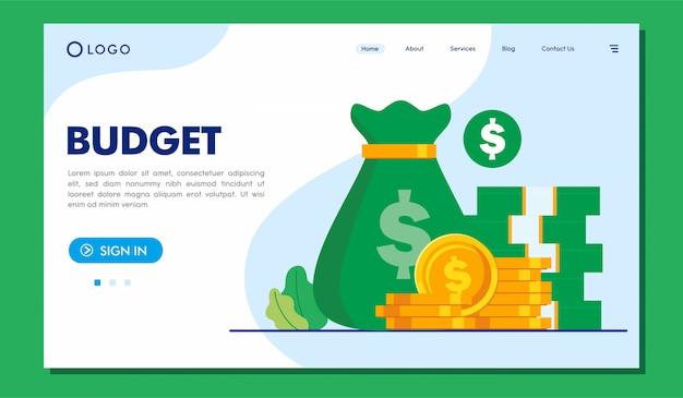 Budget landing page website illustration vorlage Premium Vektoren