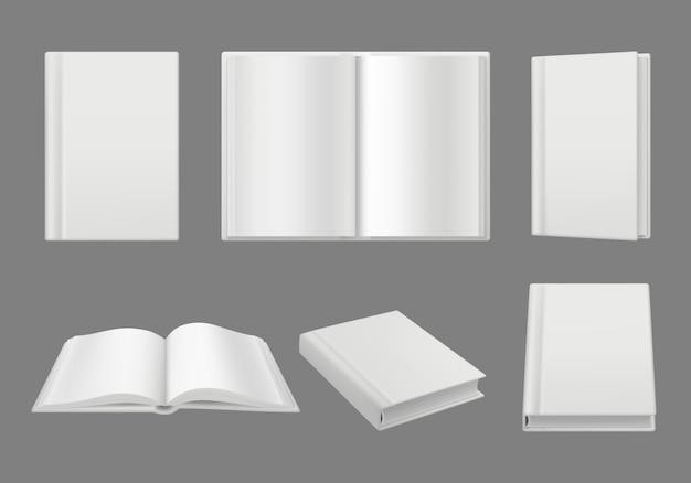 Bücher-cover-vorlage. säubern sie weißes 3d seiten getrenntes brochuremagazine realistisches modell Premium Vektoren