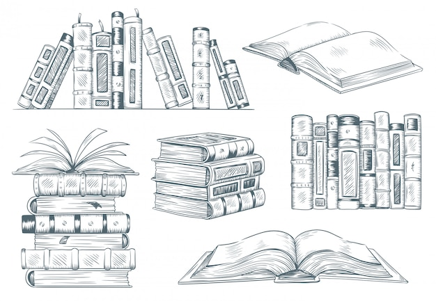 Bücher gravur. vintage offene buchgravurskizze gezeichnet. handzeichnender student, der lehrbuchillustration liest Premium Vektoren