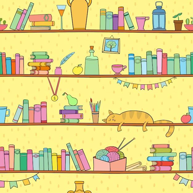 Bücher, katzen und andere dinge in den regalen. nahtlose muster Premium Vektoren