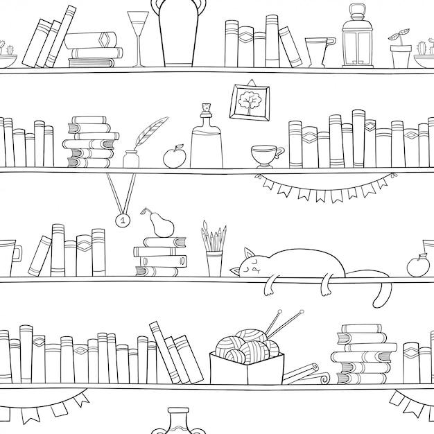Bücher, katzen und andere dinge in den regalen. Premium Vektoren