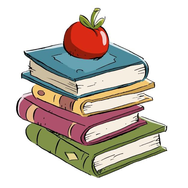 Bücher mit apfel an der spitze Premium Vektoren