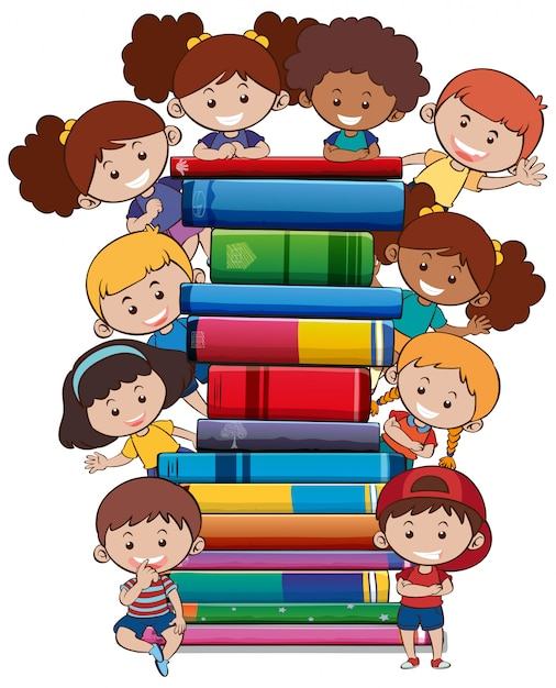 Bücher mit kindern auf weißem hintergrund Kostenlosen Vektoren